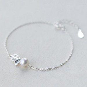 *NEW 925 Sterling Silver Pearl Leaf Bracelet